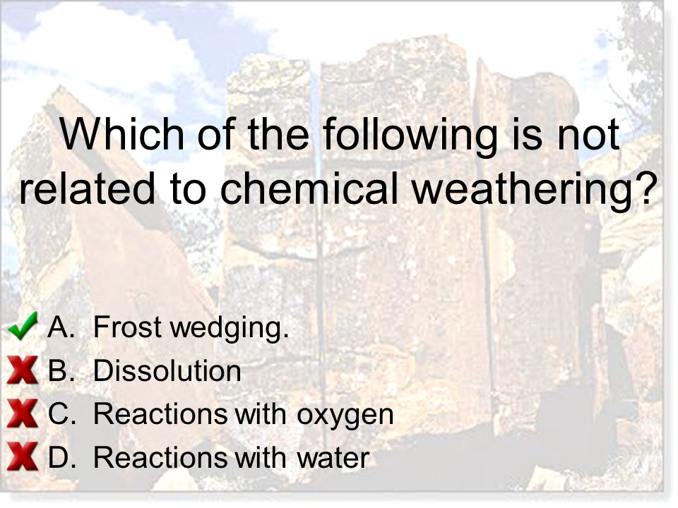 Which of the following is not related to chemical weathering