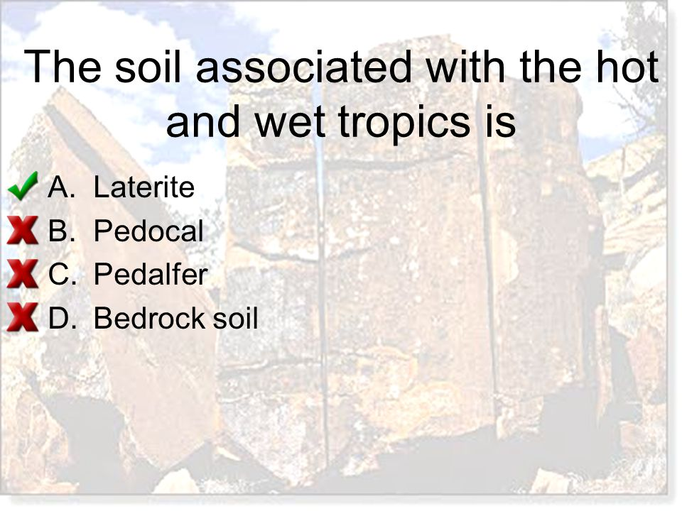The soil associated with the hot and wet tropics is