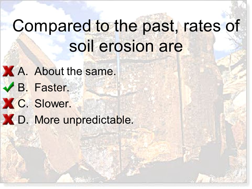 Compared to the past, rates of soil erosion are