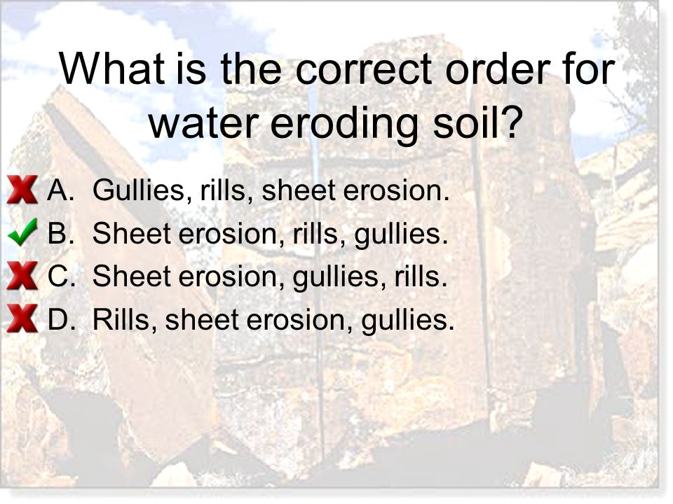 What is the correct order for water eroding soil