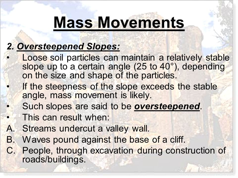 2. Oversteepened Slopes: