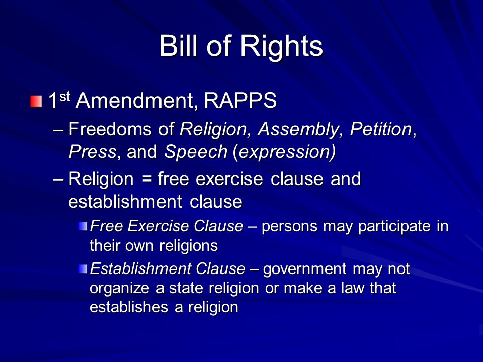 Bill of Rights 1st Amendment, RAPPS