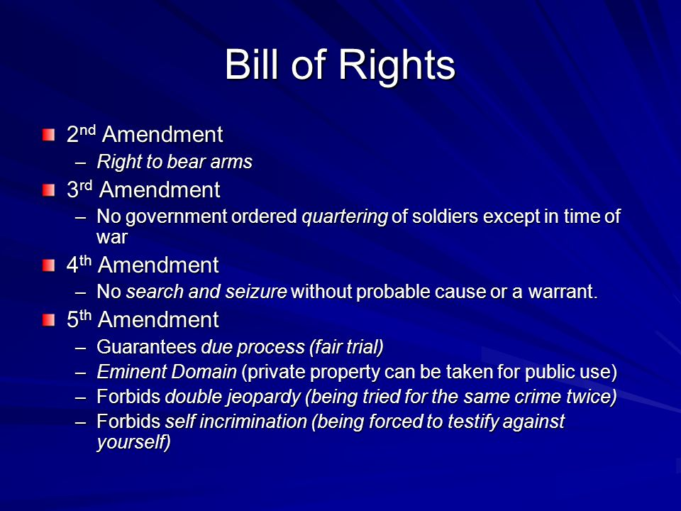 Bill of Rights 2nd Amendment 3rd Amendment 4th Amendment 5th Amendment