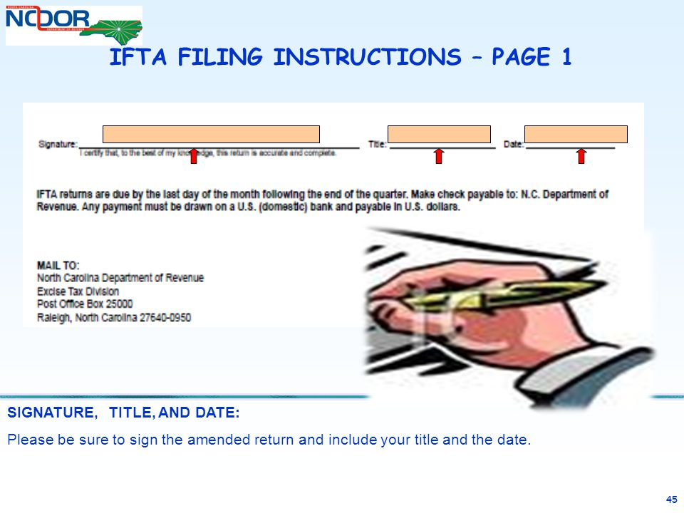 IFTA FILING INSTRUCTIONS – PAGE 1