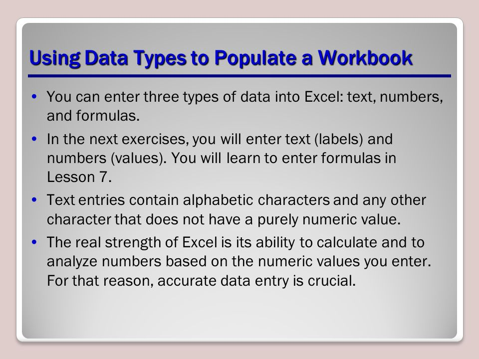 Using Data Types to Populate a Workbook
