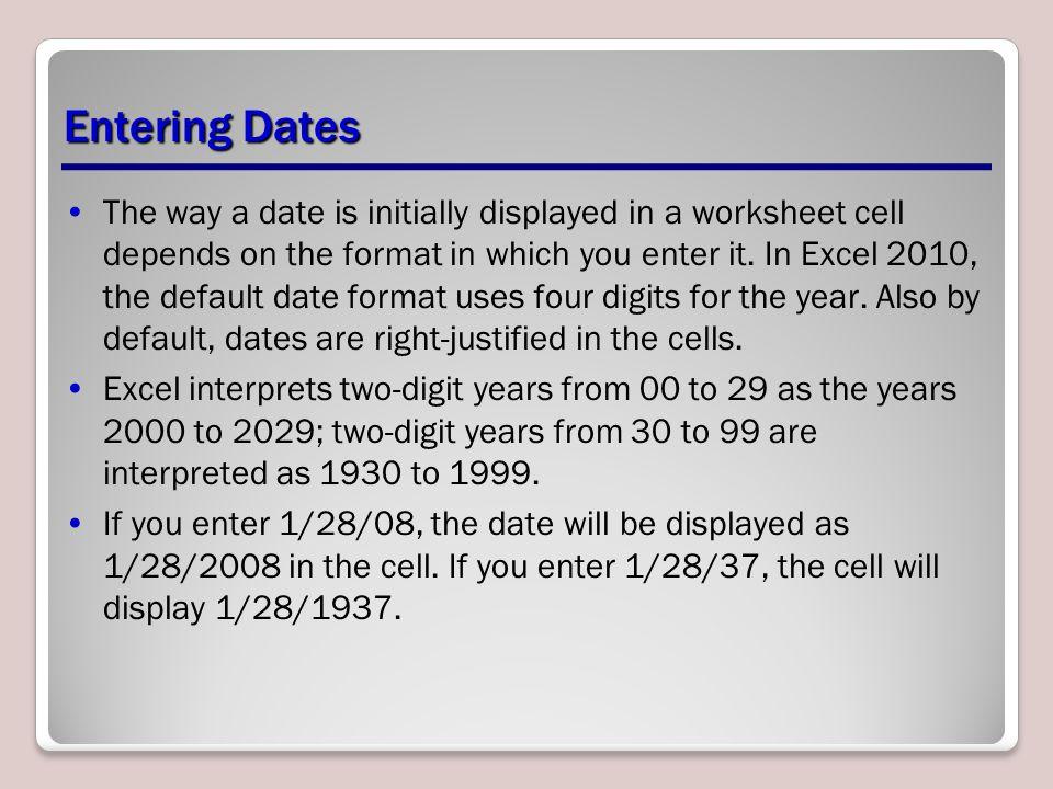 Entering Dates