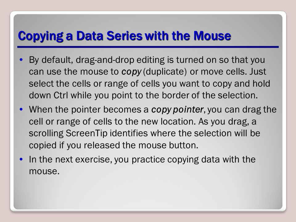 Copying a Data Series with the Mouse