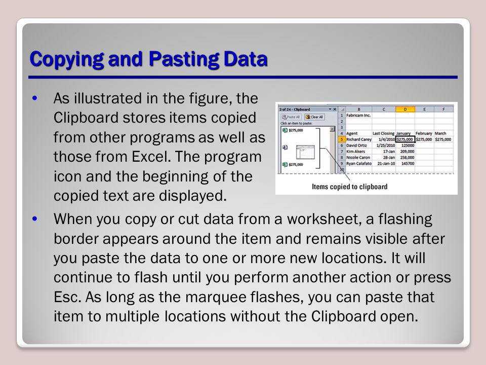 Copying and Pasting Data