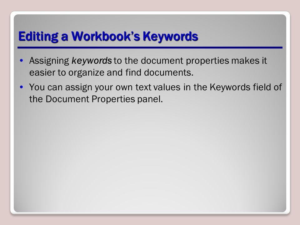Editing a Workbook's Keywords