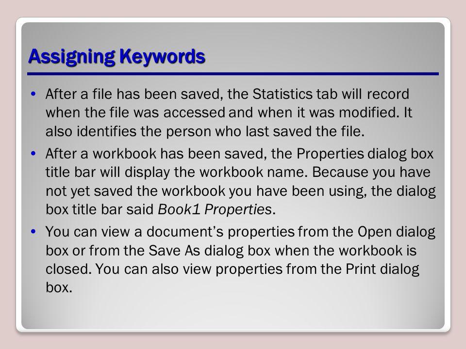 Assigning Keywords