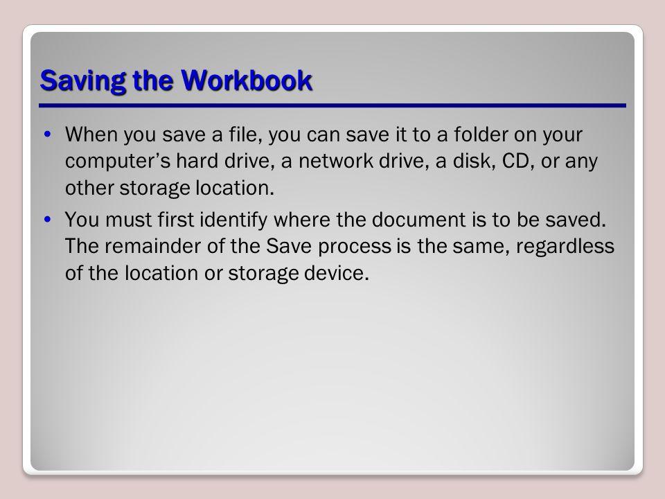 Saving the Workbook