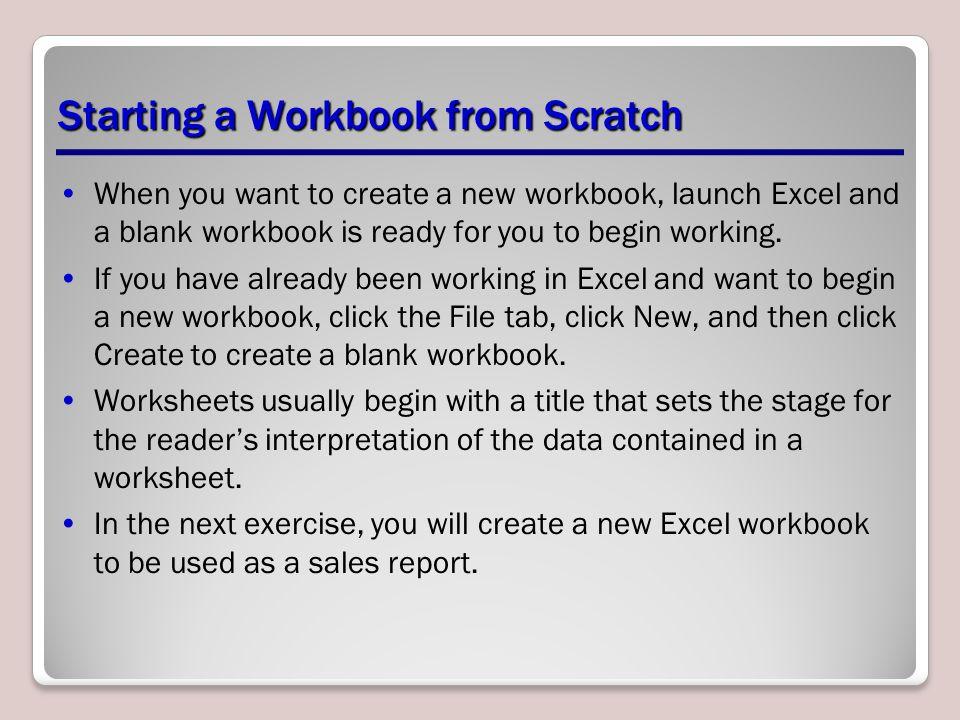 Starting a Workbook from Scratch