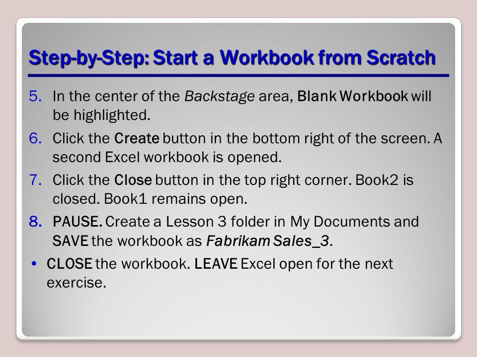 Step-by-Step: Start a Workbook from Scratch
