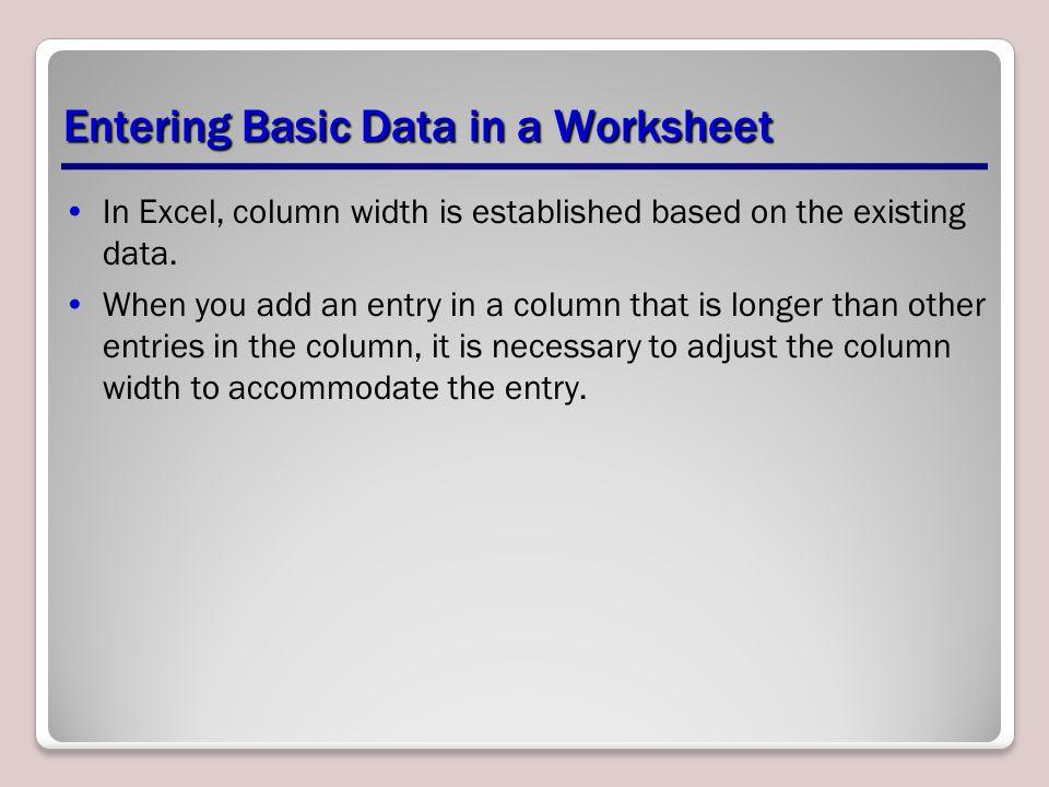 Entering Basic Data in a Worksheet