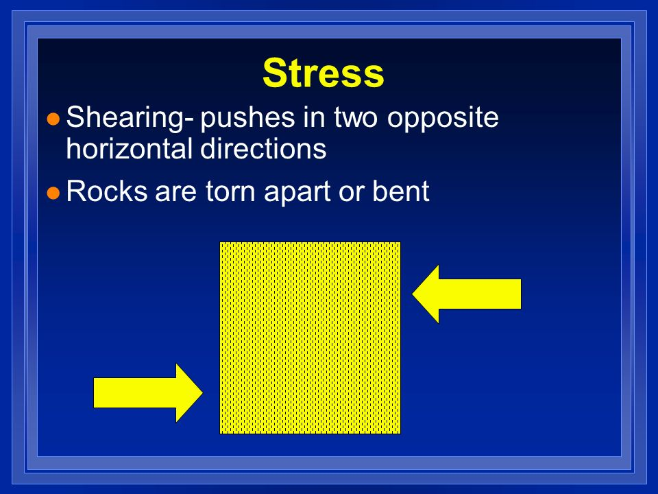 Stress Shearing- pushes in two opposite horizontal directions