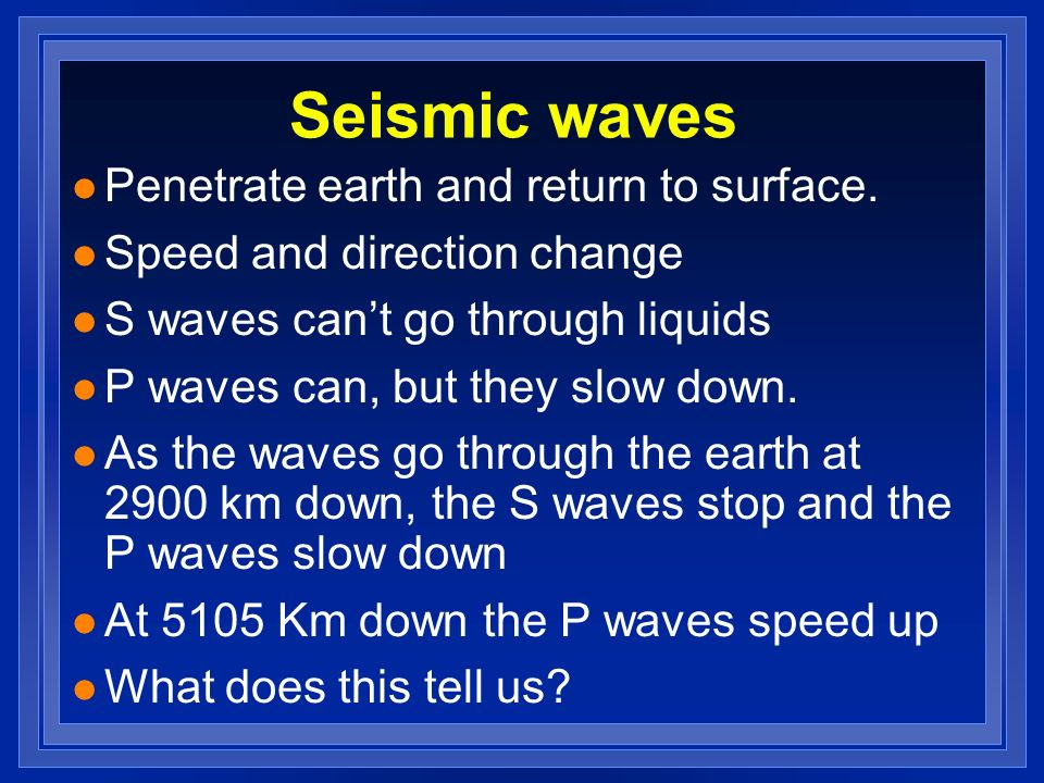 Seismic waves Penetrate earth and return to surface.