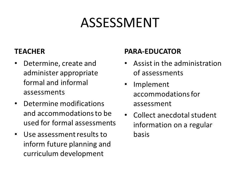 ASSESSMENT TEACHER PARA-EDUCATOR