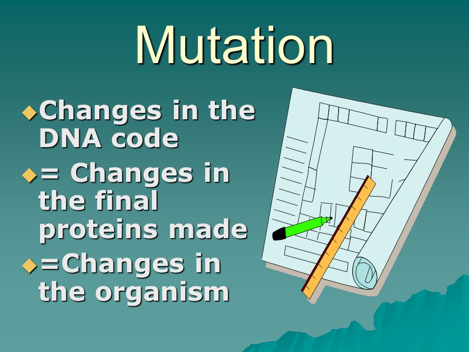 Mutation Changes in the DNA code = Changes in the final proteins made