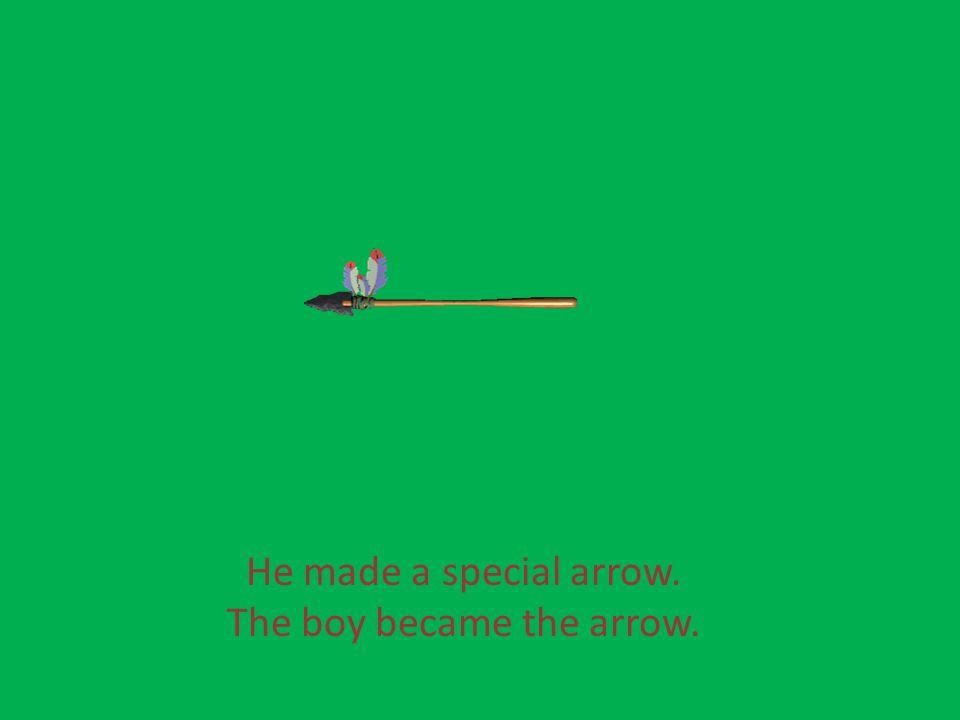 He made a special arrow. The boy became the arrow.