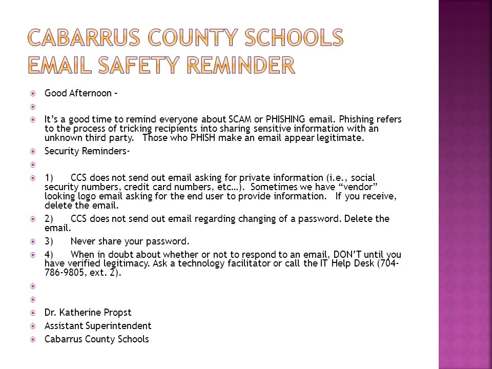 Cabarrus County Schools Email Safety Reminder