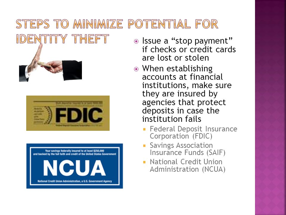 Steps to Minimize Potential for Identity Theft