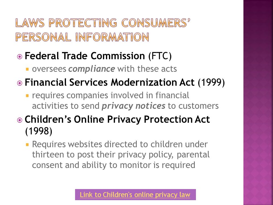 Laws Protecting Consumers' Personal Information