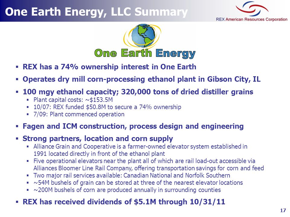 One Earth Energy, LLC Summary