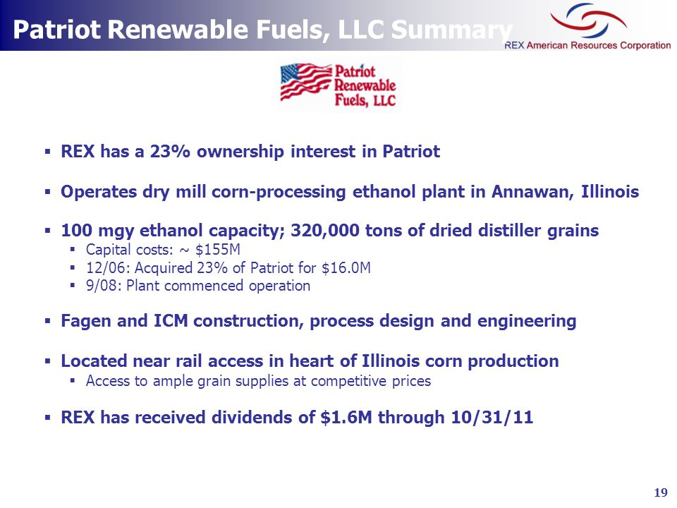 Patriot Renewable Fuels, LLC Summary