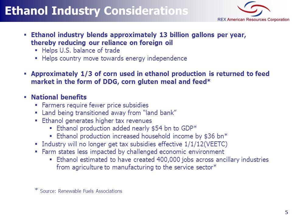 Ethanol Industry Considerations