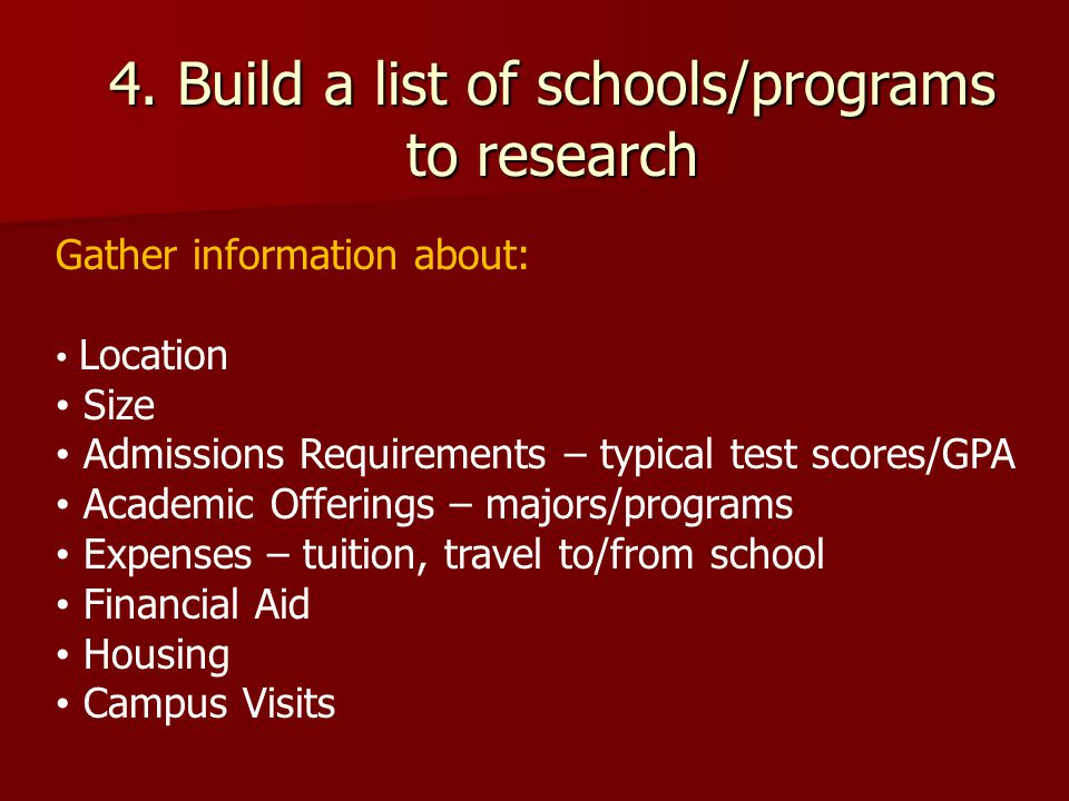 4. Build a list of schools/programs to research