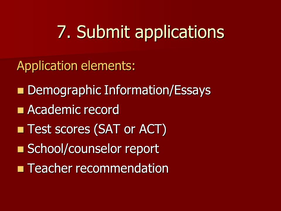 7. Submit applications Application elements: