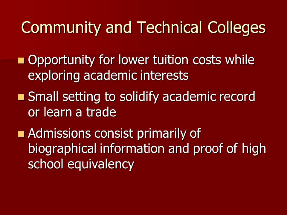 Community and Technical Colleges