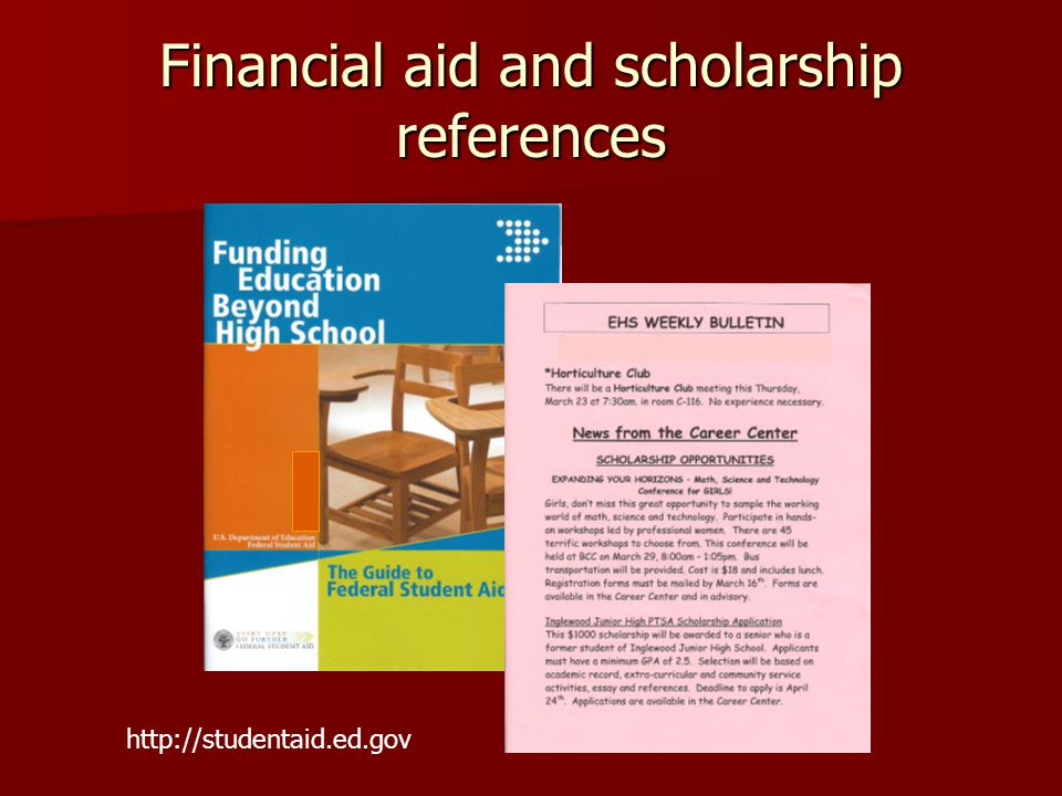 Financial aid and scholarship references