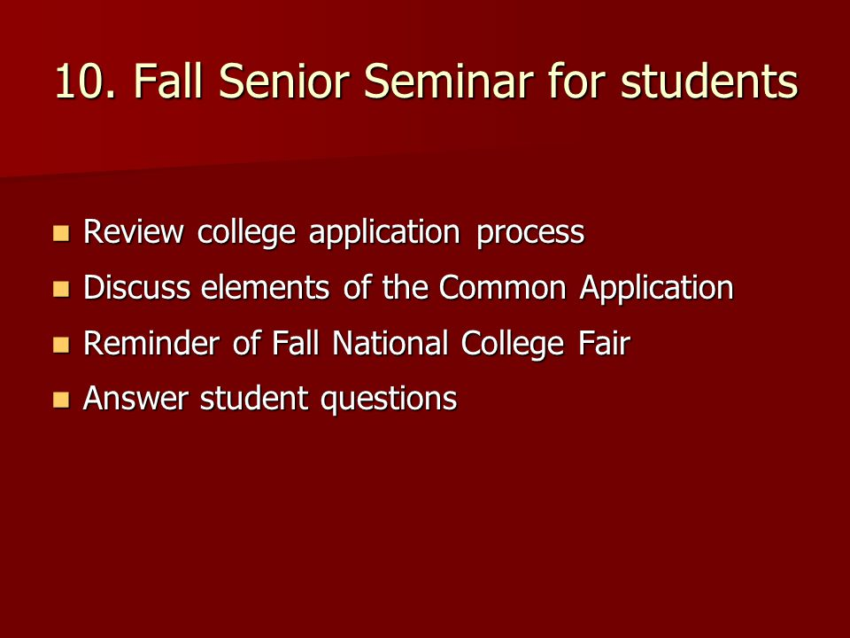 10. Fall Senior Seminar for students