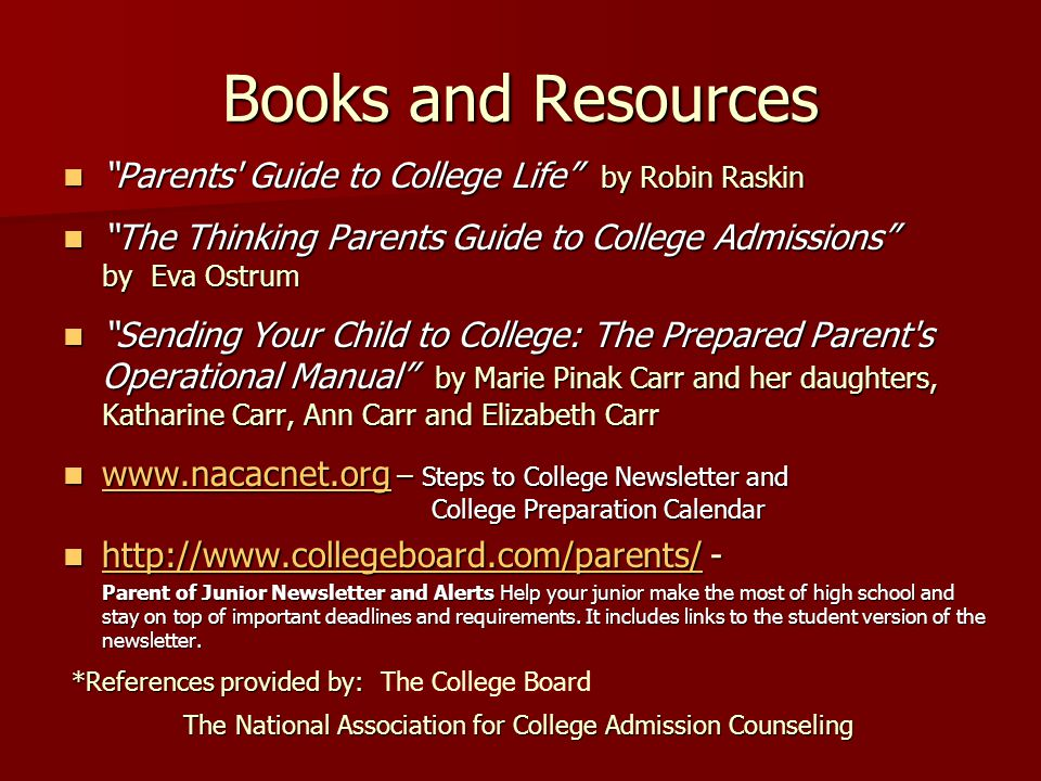 Books and Resources Parents Guide to College Life by Robin Raskin