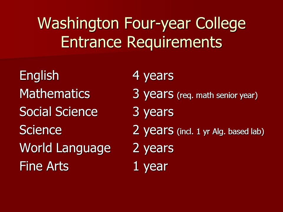 Washington Four-year College Entrance Requirements