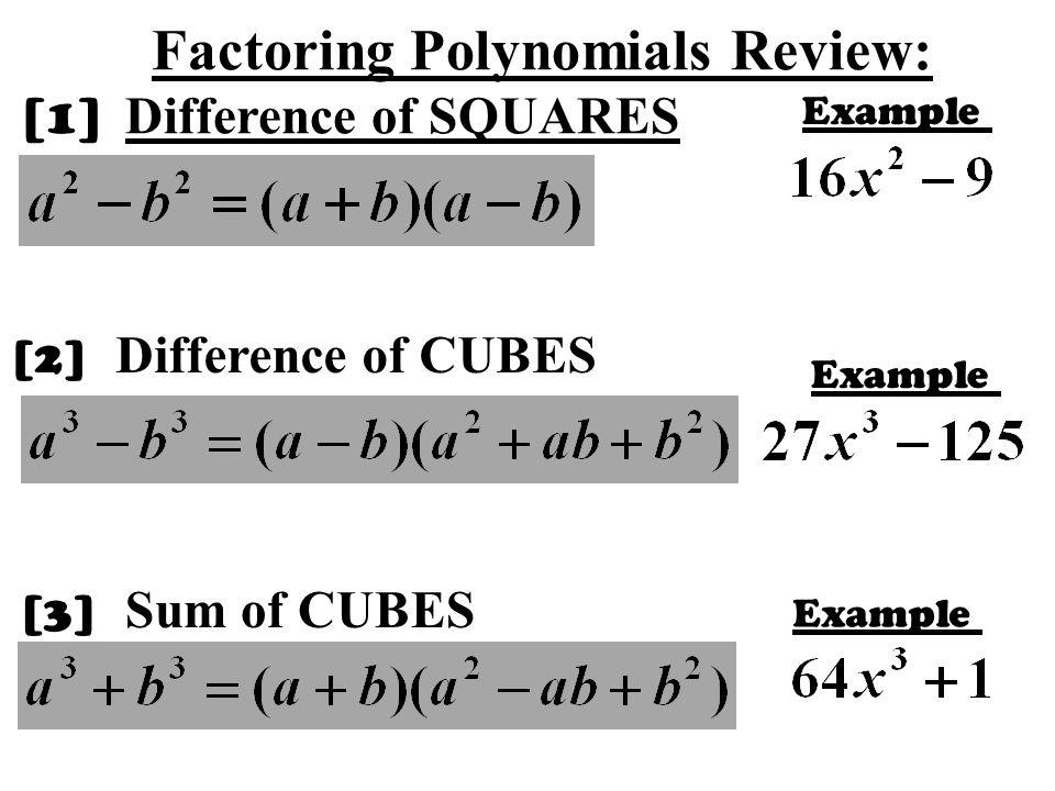 Factoring Polynomials Review: