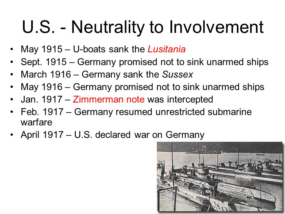 U.S. - Neutrality to Involvement