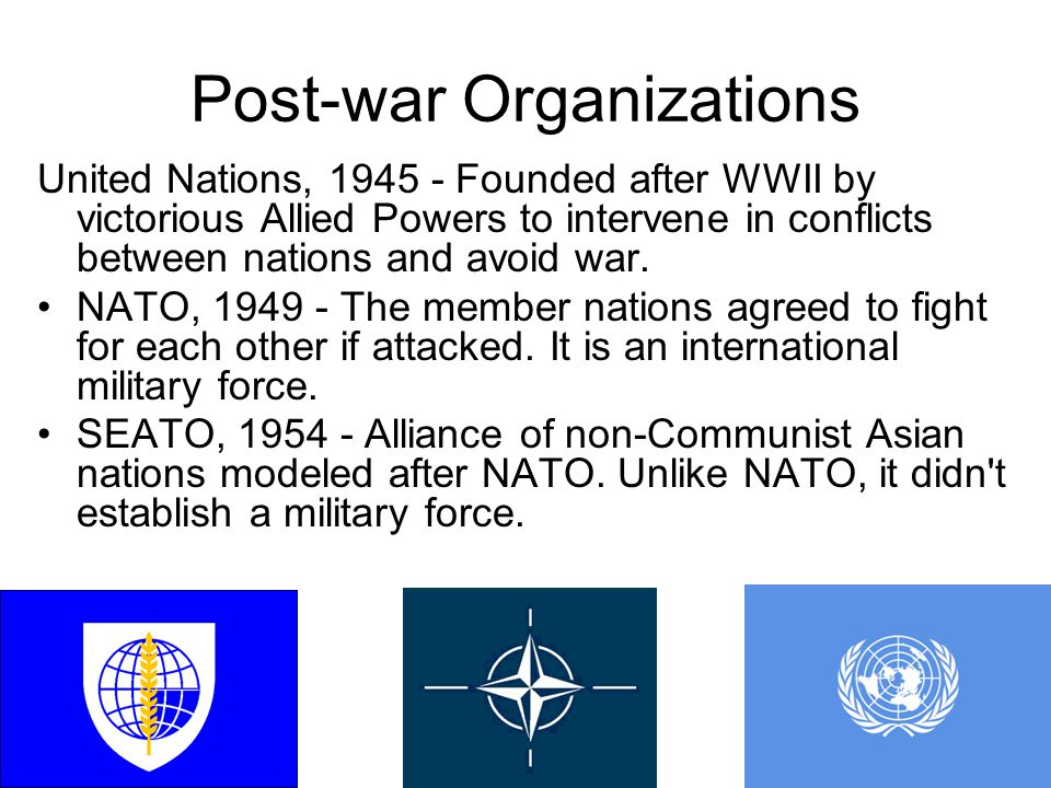 Post-war Organizations