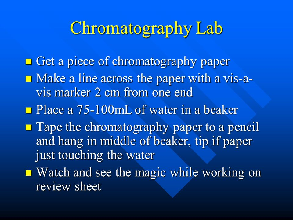 Chromatography Lab Get a piece of chromatography paper