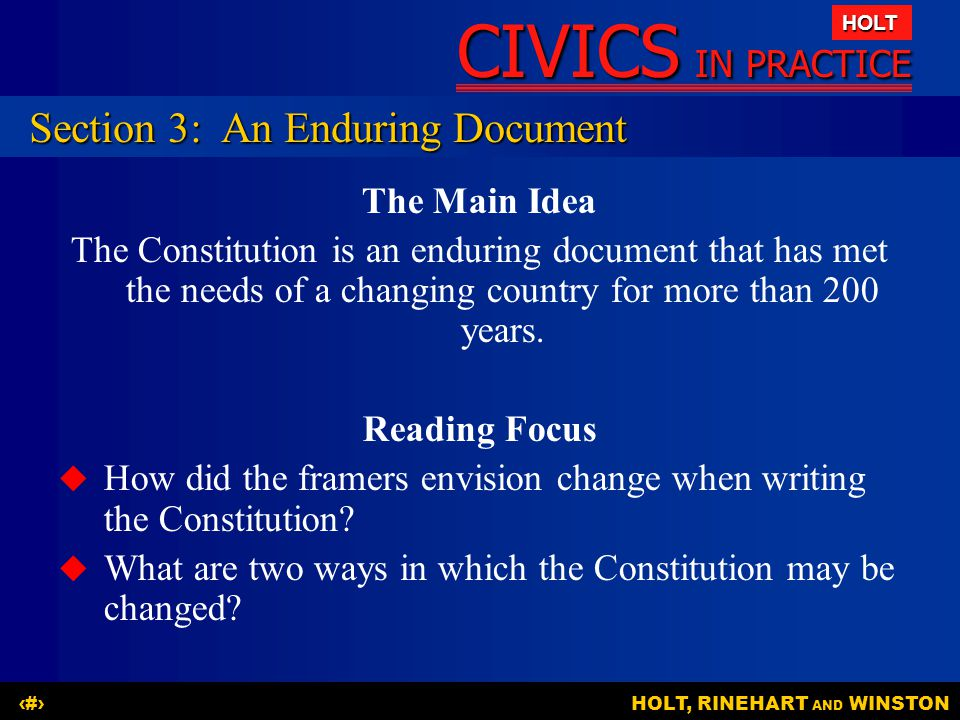 Section 3: An Enduring Document