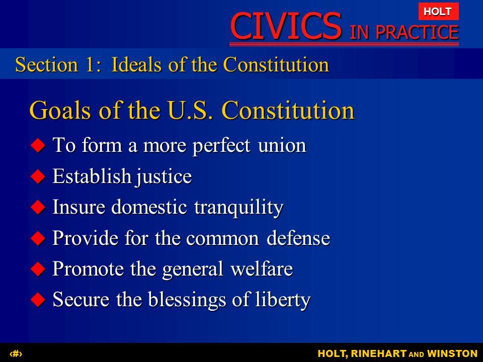 Goals of the U.S. Constitution