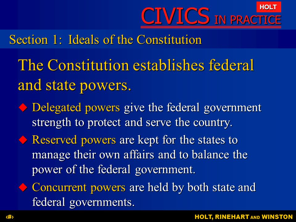 The Constitution establishes federal and state powers.