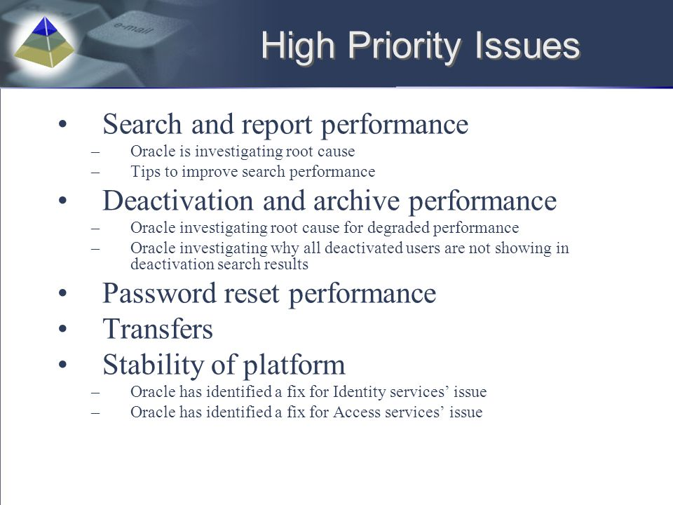 High Priority Issues Search and report performance