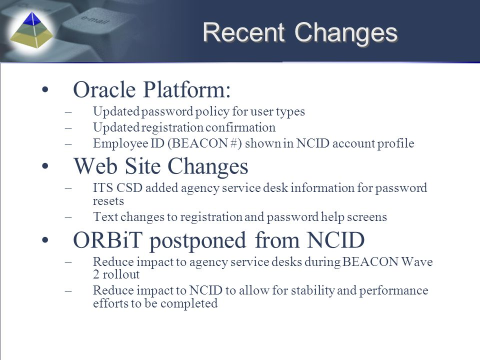 Recent Changes Oracle Platform: Web Site Changes