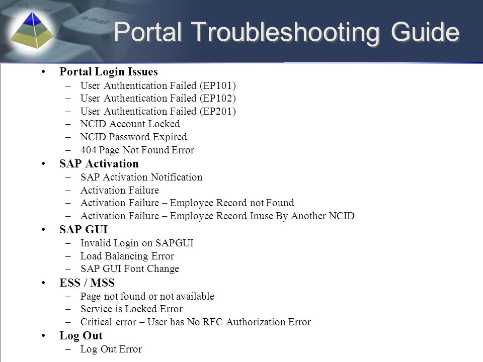Portal Troubleshooting Guide