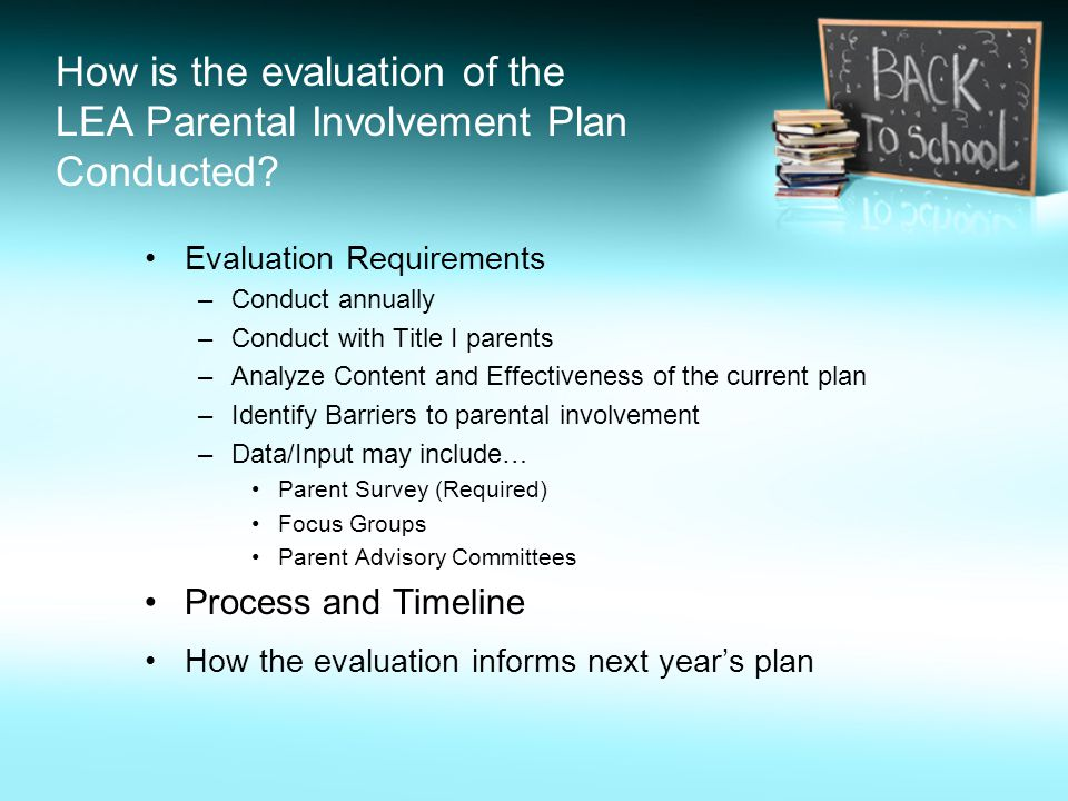 How is the evaluation of the LEA Parental Involvement Plan Conducted