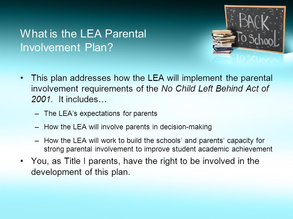 What is the LEA Parental Involvement Plan