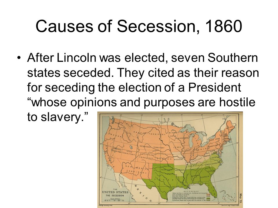 Causes of Secession, 1860