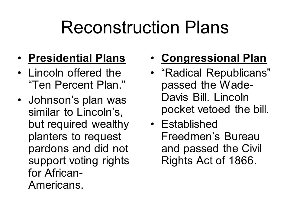 Reconstruction Plans Presidential Plans